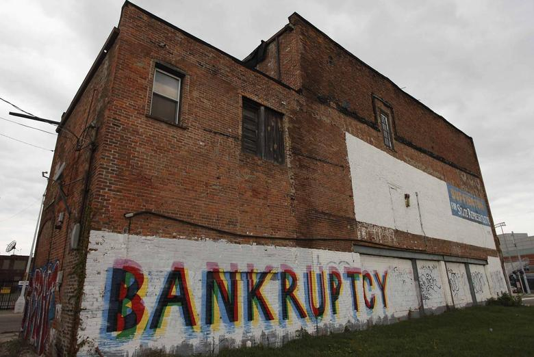 The word ''Bankruptcy'' is painted on the side of a building in Detroit, Michigan in this October 25, 2013 file photo. REUTERS/Joshua Lott/Files