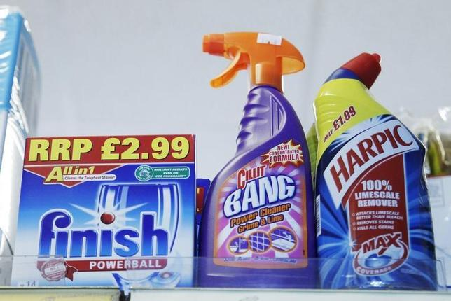 Products made by Reckitt Benckiser stand on a shelf in a store in Brighton southern England, July 21, 2010. REUTERS/Luke MacGregor