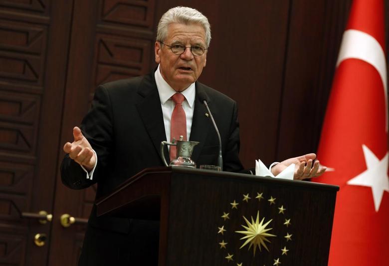 Germany's President Joachim Gauck addresses the media at the Presidential Palace in Ankara April 28, 2014. REUTERS/Umit Bektas