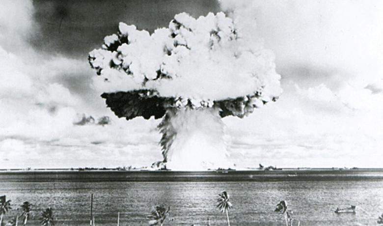 This U.S. Navy handout image shows Baker, the second of the two atomic bomb tests, in which a 63-kiloton warhead was exploded 90 feet under water as part of Operation Crossroads, conducted at Bikini Atoll in July 1946 to measure nuclear weapon effects on warships. REUTERS/U.S. Navy/Handout via Reuters