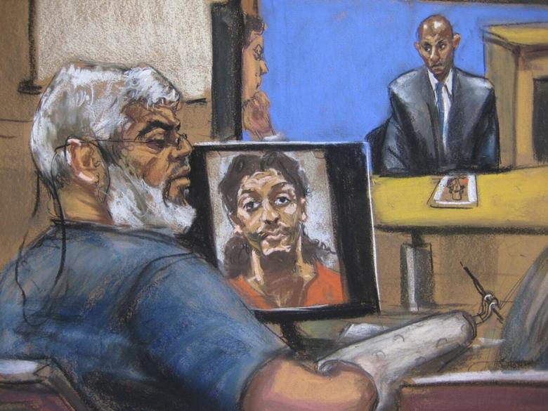 Abu Hamza al-Masri, the radical Islamist cleric facing U.S. terrorism charges, sits while a picture of shoe bomber Richard Reid is seen on a computer screen (L) and Saajid Badat is questioned via teleconference in Manhattan federal court in New York in this artist's sketch April 28, 2014. REUTERS/Jane Rosenberg