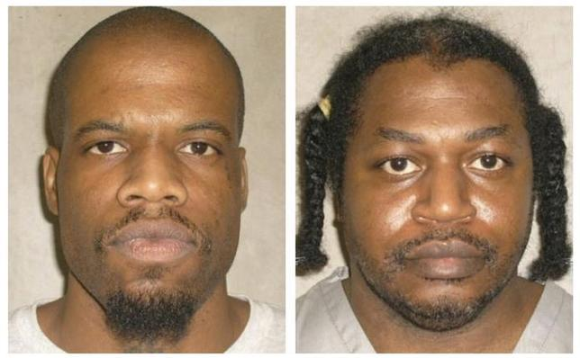 Death row inmates Charles Warner (R) and Clayton Lockett are seen in a combination of pictures from the Oklahoma Department of Corrections dated June 29, 2011. REUTERS/Oklahoma Department of Corrections/Handout
