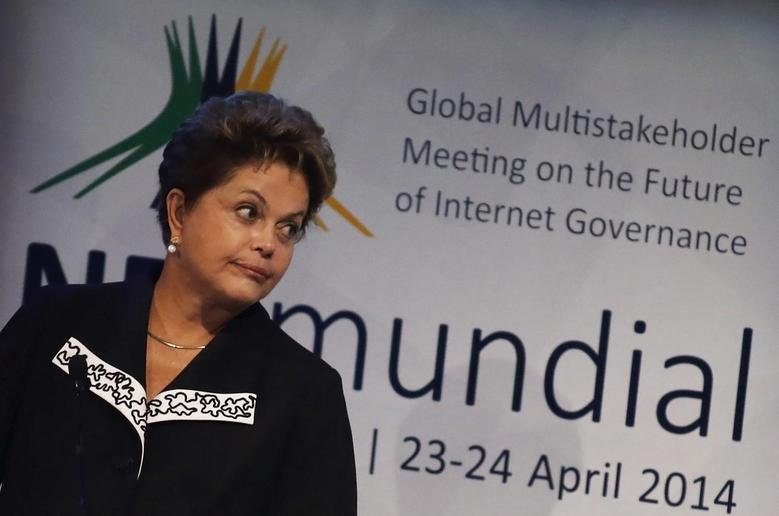 Brazil's President Dilma Rousseff gestures during the opening ceremony for the NETmundial: Global Multistakeholder Meeting on the Future of Internet Governance conference in Sao Paulo April 23, 2014. REUTERS/Nacho Doce