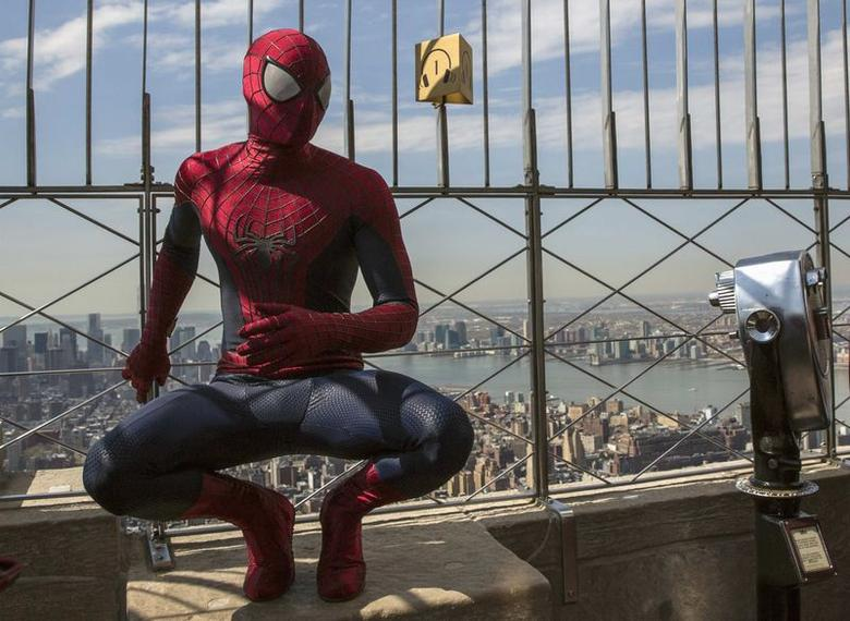 A stunt man dressed as Spider-Man, poses during a photo call for the film ''The Amazing Spider-Man 2'', at the Empire State Building in New York April 25, 2014. REUTERS/Brendan McDermid