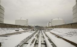 Líneas de transmisión hacia tanques de almacenamiento son vistas cubiertas de nieve en una terminal de gas natural licuado en Maryland, Estados Unidos. 18 de marzo, 2014. REUTERS/Gary Cameron