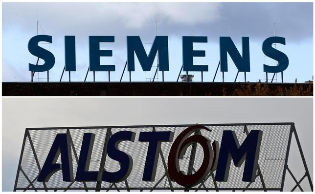 A combination of two file photographs shows the logos of Siemens AG company (top) in Berlin October 9, 2012 and of French power and transport engineering company Alstom in Reichshoffen near Haguenau, North Eastern France, April 24, 2014. REUTERS/Staff/Files