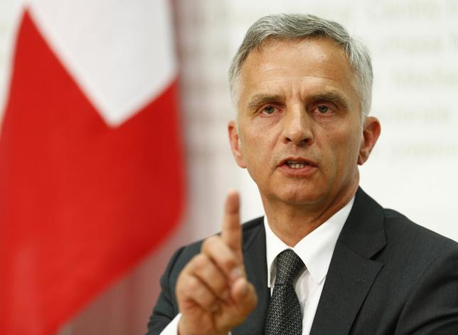 Swiss President and Foreign Minister Didier Burkhalter speaks to the media during a news conference after the weekly meeting of the Federal Council in Bern April 30, 2014. REUTERS/Ruben Sprich