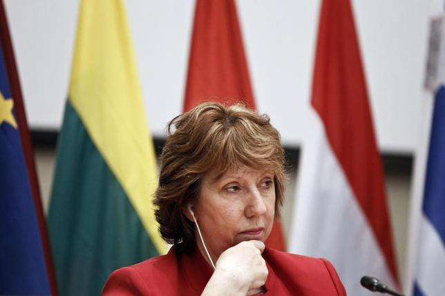 European Union (EU) foreign policy chief Catherine Ashton attends a news conference during an informal meeting of EU foreign ministers in Athens April 5, 2014. REUTERS/Alkis Konstantinidis