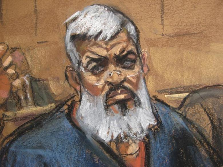 Abu Hamza al-Masri, the radical Islamist cleric facing U.S. terrorism charges, sits with his legal team in Manhattan federal court in New York in this artist's sketch October 26, 2012. REUTERS/Jane Rosenberg