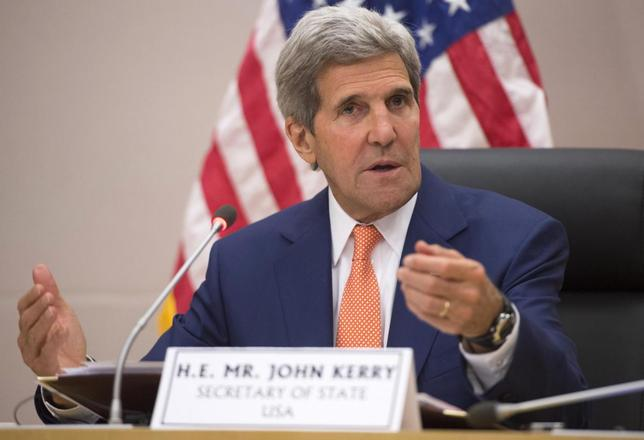 U.S. Secretary of State John Kerry speaks during meetings at the African Union Commission in Addis Ababa May 1, 2014. REUTERS/Saul Loeb/Pool