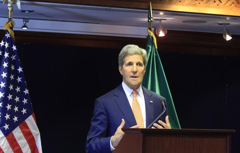 U.S. Secretary of State John Kerry addresses a news conference during his official visit to Ethiopia's capital Addis Ababa May 1, 2014. REUTERS/Tiksa Negeri