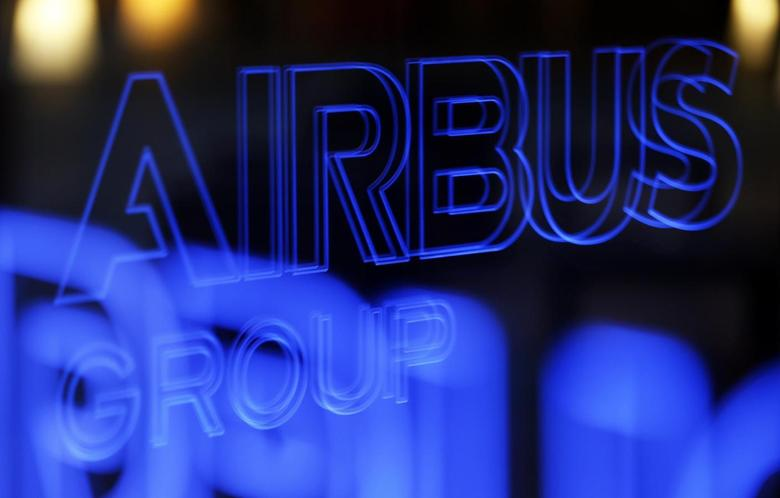 The logo of Airbus Group is reflected in a window during the Airbus Group 2013 annual results presentation in Toulouse February 26, 2014. REUTERS/Regis Duvignau
