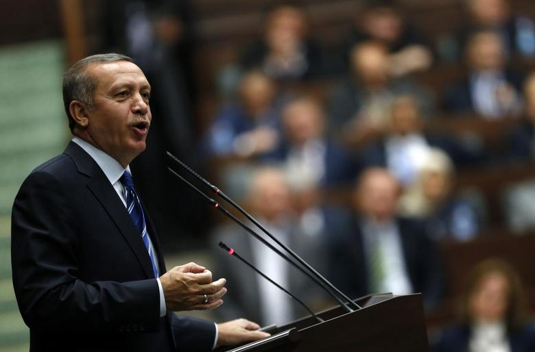 Turkey's Prime Minister Tayyip Erdogan addresses members of parliament from his ruling AK Party (AKP) during a meeting at the Turkish parliament in Ankara April 29, 2014. REUTERS/Umit Bektas