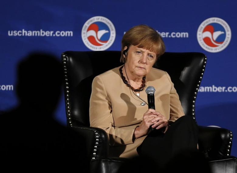 German Chancellor Angela Merkel participates in a question and answer period at the U.S. Chamber of Commerce in Washington May 2, 2014. REUTERS/Gary Cameron