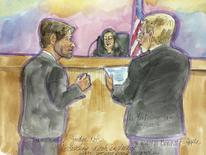 A courtroom drawing shows lawyers for Samsung (L) and Apple discussing the verdict as U.S. District Judge Lucy Koh listens at the conclusion of a mobile phone patent infringement lawsuit between Apple and Samsung in San Jose, California May 2, 2014. REUTERS/Vicki Behringer