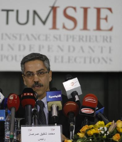Chafik Sarsar, head of the Independent Election Commission (ISIE) speaks during a news conference in Tunis March 26, 2014. REUTERS/Zoubeir Souissi