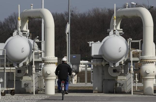 A worker rides a bicycle past gas pipes at Gas Connect Austria's gas distribution node in Baumgarten some 40 km (25 miles) east of Vienna March 6, 2013. REUTERS/Heinz-Peter Bader