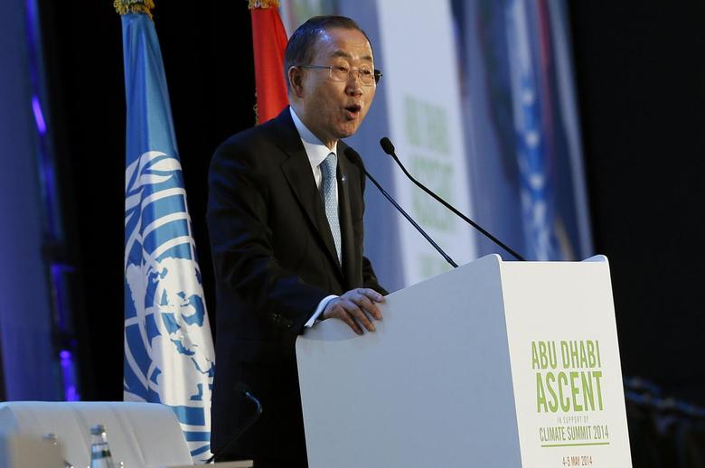 U.N. Secretary General Ban Ki-moon speaks during a conference on climate change in Abu Dhabi May 4, 2014. REUTERS/Stringer