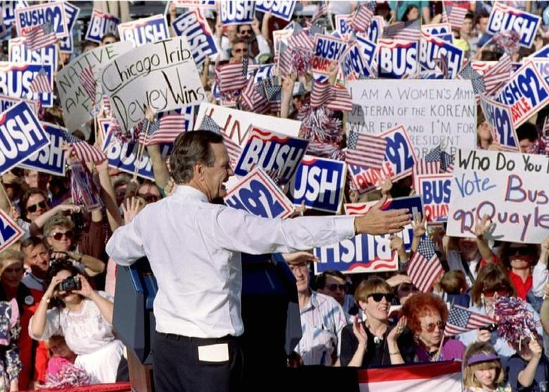 President George Bush greets the crowd at a rally in Albuquerque, New Mexico, October 26. - RTXF2ZW