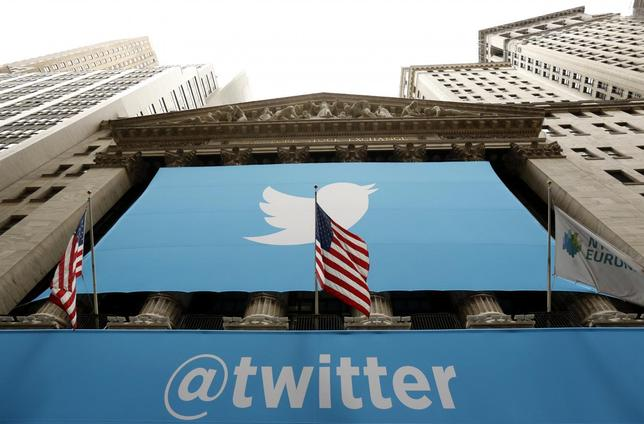 The Twitter logo is seen at the New York Stock Exchange before the company's IPO in New York, November 7, 2013. REUTERS/Lucas Jackson