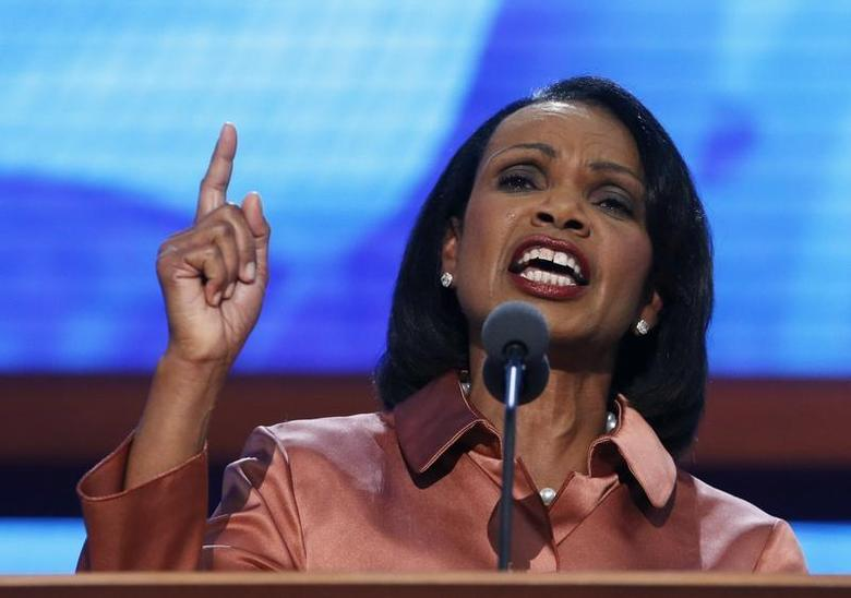 Former U.S. Secretary of State Condoleezza Rice speaks during the third session of the Republican National Convention in Tampa, Florida August 29, 2012. REUTERS/Eric Thayer