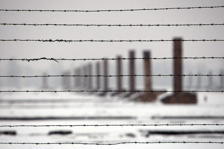 Chimneys are seen through barbed wires during a visit by French secondary school students at the Auschwitz-Birkenau death camp in Oswiecim, January 18, 2010. REUTERS/Eric Gaillard