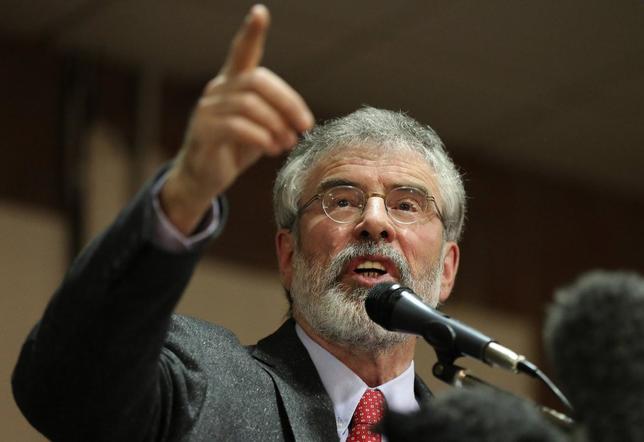 Sinn Fein president Gerry Adams speaks at an election rally in Belfast, May 5, 2014. REUTERS/Paul Hackett