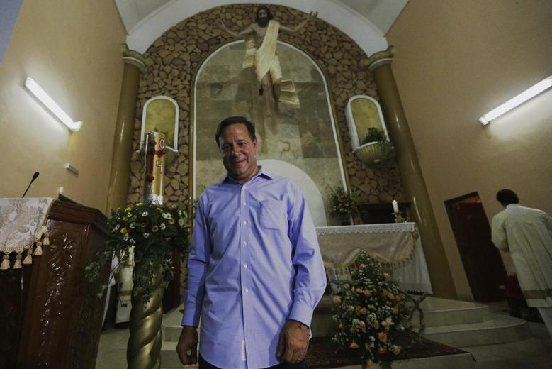 Juan Carlos Varela of the Panamenista Party (PP) is seen after a speech during his first public presentation as the elected president of Panama inside the Virgin of Carmen church in Panama City May 5, 2014. REUTERS/Carlos Jasso