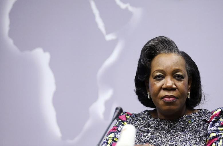 Central African Republic's interim President Catherine Samba-Panza holds a news conference during an European Union (EU)-Africa summit in Brussels April 3, 2014. REUTERS/Francois Lenoir