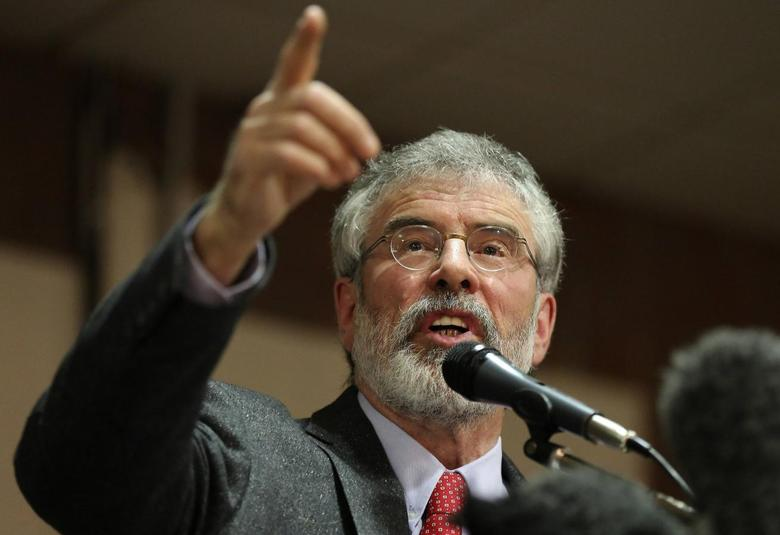 Sinn Fein president Gerry Adams speaks at an election rally in Belfast, May 5, 2014. REUTERS/Paul Hackett