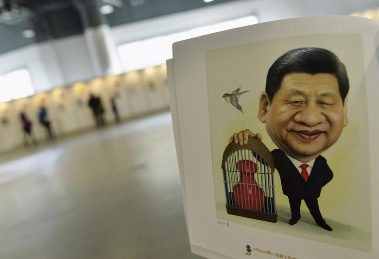 A portrait done by cartoonist Zhu Zizun of China's President Xi Jinping, is seen during China International Cartoon & Animation Festival in Hangzhou, Zhejiang province, April 29, 2014. REUTERS/Stringer