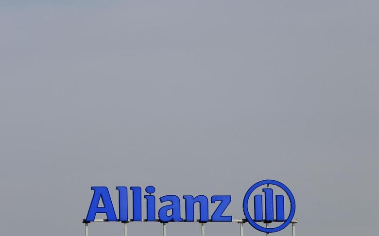 The logo of Europe's biggest insurer Allianz SE is pictured at their headquarters in Unterfoehring, near Munich February 26, 2014. REUTERS/Michaela Rehle