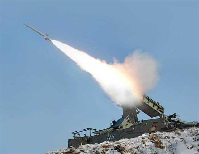 A rocket is fired during a drill of drone planes assaulting targets and a firing drill of self-propelled flak rocket destroying ''enemy'' cruise missiles coming in attack in low altitude, conducted by the air force and air defence artillery units of the Korean People's Army in an undisclosed location in this picture released by the North's official KCNA news agency in Pyongyang March 20, 2013. KCNA said this picture was taken on March 20, 2013. REUTERS/KCNA