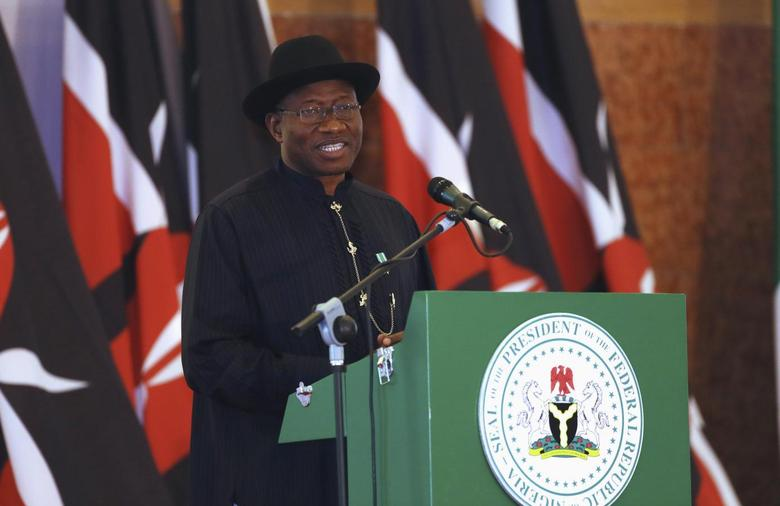 Nigeria's President Goodluck Jonathan speaks during a Nigeria-Kenya bilateral business meeting in Abuja, May 5, 2014. Picture taken May 5, 2014. REUTERS/Afolabi Sotunde