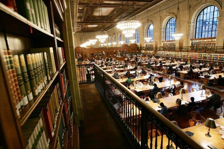 The main reading room of The New York Public Library is pictured in a file photo. REUTERS/Mike Segar