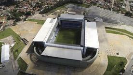Vista aérea da Arena Pantanal em Cuiabá. 24/04/2014 REUTERS/Joel Marcos
