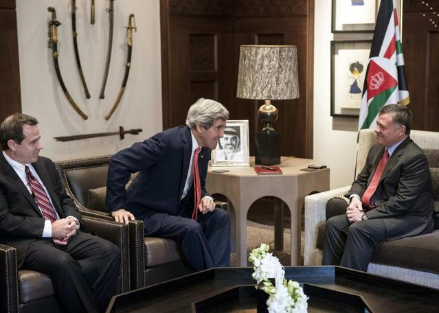 U.S. ambassador to Jordan Stuart E. Jones watches as U.S. Secretary of State John Kerry meets with Jordan's King Abdullah (L-R) at Al-Hummar Palace in Amman January 5, 2014. REUTERS/Brendan Smialowski/Pool