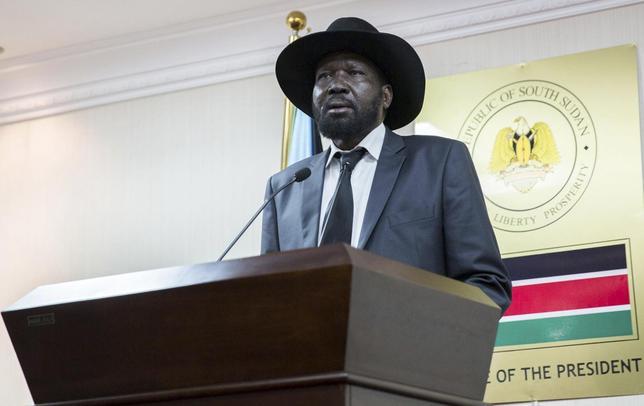 South Sudan's President Salva Kiir speaks during a news conference in Juba, April 25, 2014.REUTERS/Emre Rende