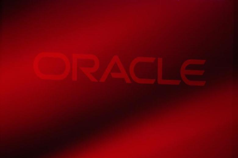 An Oracle Corporation logo is seen on stage prior to the announcement of the company's latest SPARC servers at Oracle Conference Center in Redwood Shores, California March 26, 2013. REUTERS/Stephen Lam