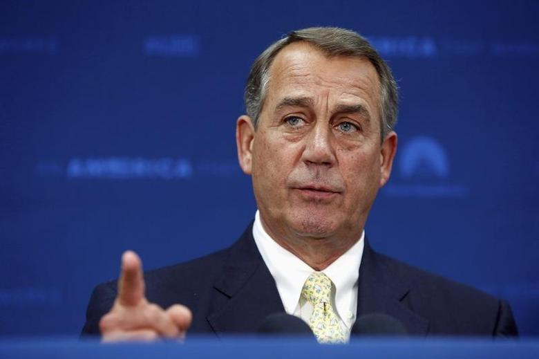 U.S. House Speaker John Boehner (R-OH) takes a question as he addresses reporters after a Republican caucus meeting at the U.S. Capitol in Washington May 7, 2014. REUTERS/Jonathan Ernst