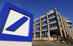 The Deutsche Bank logo is seen outside a building in Luxembourg, September 10, 2013. REUTERS/Yves Herman