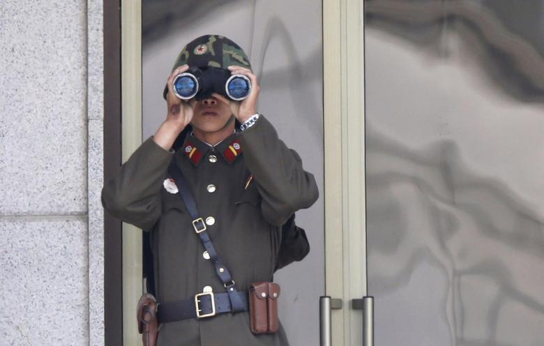 A bruise is seen on the right hand of a North Korean soldier observing activities in the south of the truce village of Panmunjom in the demilitarised zone (DMZ) separating North Korea from South Korea, about 55 km (34 miles) north of Seoul, September 25, 2013. REUTERS/Lee Jae-Won