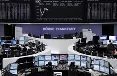 The curve of the German share price index DAX board is pictured at the Frankfurt stock exchange May 2, 2014. REUTERS/Remote/Stringer