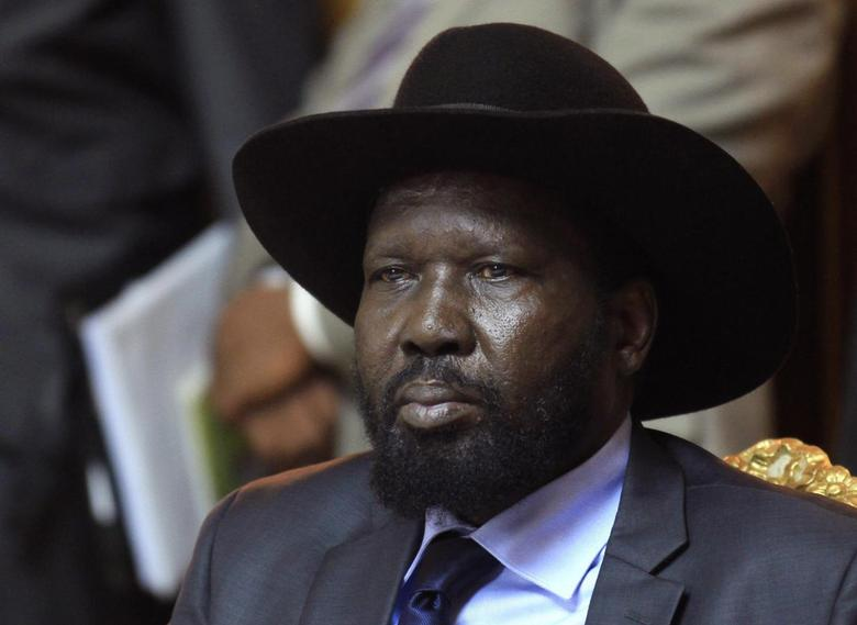 South Sudan's President Salva Kiir sits after he signed a peace agreement with South Sudan's rebel leader Riek Machar in Addis Ababa May 9, 2014. REUTERS/Tiksa Negeri