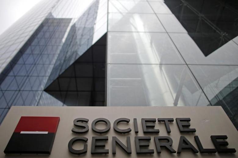 A logo is seen is seen in front of French bank Societe Generale headquarters in La Defense near Paris, February 13, 2013. REUTERS/Christian Hartmann