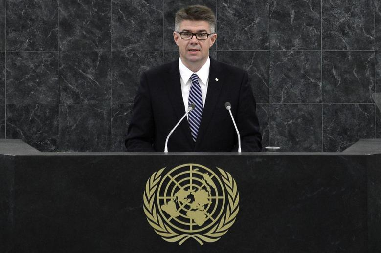 Gunnar Bragi Sveinsson, minister for foreign affairs of Iceland, addresses the 68th session of the United Nations General Assembly in New York September 30, 2013. REUTERS/Adrees Latif