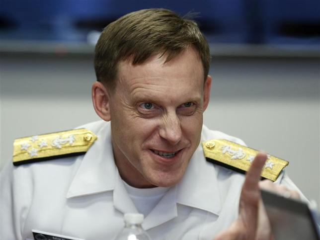 NSA Director Adm. Michael Rogers answers a question at a Reuters CyberSecurity Summit in Washington, May 12, 2014. REUTERS/Larry Downing