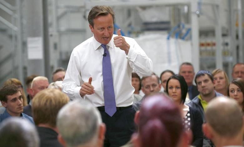 Britain's Prime Minister David Cameron speaks as part of the Conservative Party's European and Local Election campaign at HL Plastics in Denby, central England May 9, 2014. REUTERS/Darren Staples