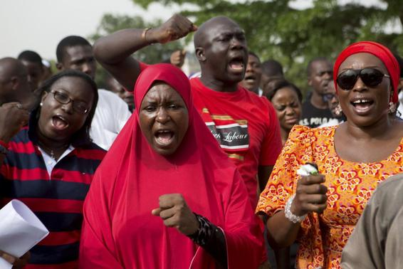 People demand for the release of 200 secondary school girls abducted in the remote village of Chibok, during a protest at Unity Park in Abuja May 11, 2014. REUTERS/Joe Penney