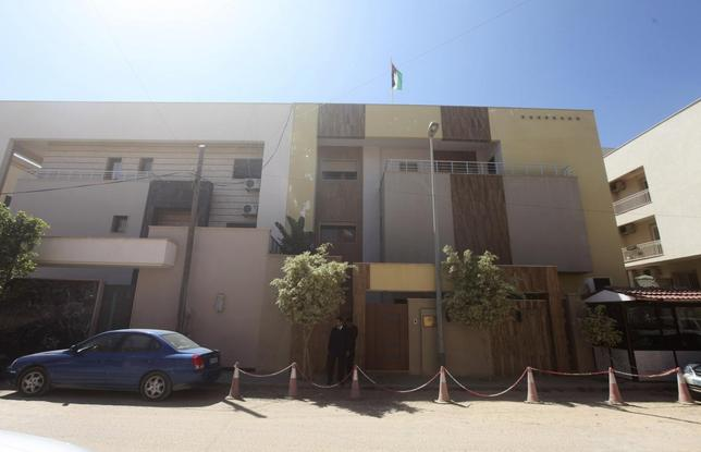 A view of the front of the Jordanian embassy in Tripoli April 15, 2014. REUTERS/ Hani Amara